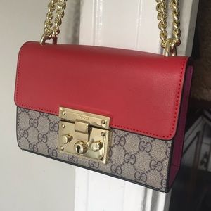 Gucci pink and red leather crossbody purse